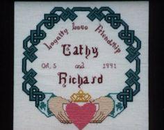 cross stitchwedding | Irish Claddagh Knotwork Sampler Cross Stitch Wedding Pattern Chart