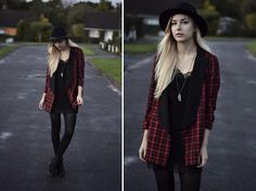 Oh My Love Blazer, Oh My Love Dress, Vagabond Boots, Urban Outfitters Hat, Pandora Necklace