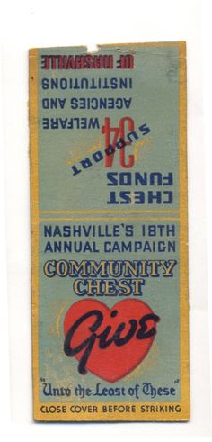 VINTAGE NASHVILLE'S 18TH ANNUAL COMMUNITY CHEST GIVE NO STRIKER MATCHBOOK COVER