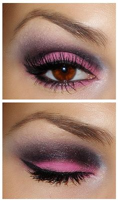 Pink and dark plum eyeshadow with black liner inside the rim. Gorgeous!