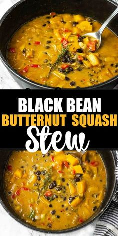 Black Bean Butternut Squash Stew A quick and easy recipe, black bean with sweet butternut squash and collard greens make this healthy stew so hearty and comforting! The post Black Bean Butternut Squash Stew appeared first on Gastronomy and Culinary. Healthy Recipes, Veggie Recipes, Soup Recipes, Whole Food Recipes, Vegetarian Recipes, Cooking Recipes, Easy Recipes, Healthy Deserts, Vegetarian Cooking