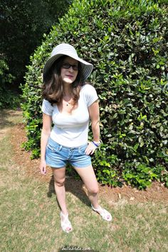 The first in a summer series on the many different ways to wear a white t-shirt. This look features a wide-brimmed hat, tee, and denim shorts from @JCPenney.