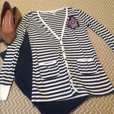 LOFT Striped Cardigan LOFT Striped Cardigan. Excellent used condition. LOFT Sweaters Cardigans
