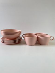 Excited to share this item from my #etsy shop: Vintage, Pink, Imperial ware, Texas ware, melamine, 8 piece cup, saucer and small bowl set. 1950's #pinktexasware #teaset #babyshowergift #toddlerplateset #brunch #vintageentertaining #snackset #1950s #pinkmelmacset
