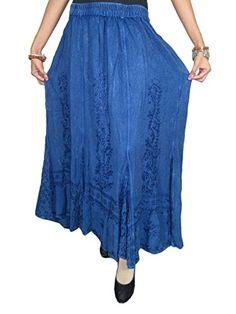 Boho Gypsy Women Rayon Skirt Blue Floral Emroidered Long Skirts Mogul Interior http://www.amazon.com/dp/B00PZUVP2W/ref=cm_sw_r_pi_dp_8qgCub19440H8