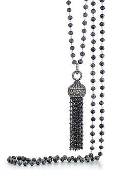 Sethi Couture 18k black diamond tassel necklace #SethiCouture #blackdiamonds