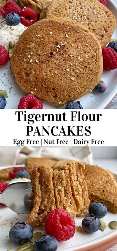 These healthy tigernut flour pancakes are Paleo, Vegan and free of top allergens. This easy pancake recipe is moist, fluffy and perfect for a healthy breakfast. #tigernut #paleo #vegan #breakfast Eggless Recipes, Flour Recipes, Vegan Recipes, Vegan Breakfast, Healthy Breakfast Recipes, Breakfast Ideas, No Flour Pancakes, Pancakes Easy, Nut Free
