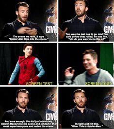 Cris Evans on Ton Holland's Captain America: Civil War screen test