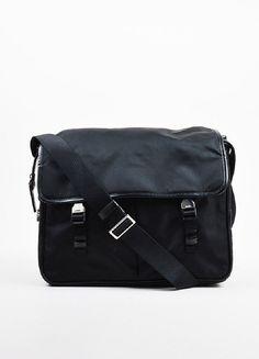 Prada Black Silver Toned Nylon Double Pocket Buckle Messenger Bag 2be62e030b508