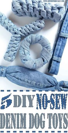 Make no-sew recycled denim dog toys out of old jeans! It's easy, fast and free! And your pup will love it! These heavy duty recycled denim dog toys are great as chewing dog toy, to play fetch and tug-of-war. For the love of dogs and puppies. Sewing Toys, Free Sewing, Costura Diy, Diy Dog Toys, Diy Animal Toys, Diy Chew Toys For Dogs, Homemade Dog Toys, Dog Chew Toys, Cool Dog Toys