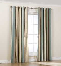 St Ives Striped Curtains Home House Styles, Curtain Poles, Open Plan Living Room, White Sitting Room, Curtains, Striped Curtains, Soft Furnishings, Sitting Room Decor, Home Decor