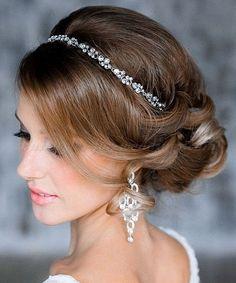 chignon wedding hairstyles, low bun wedding hairstyles - chignon with headband