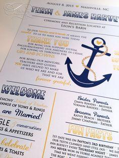 Nautical Wedding Program Fan