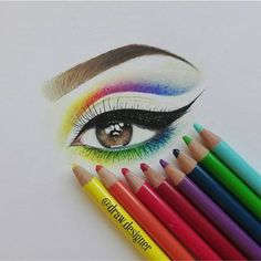 I drew colorful eye make up I did use faber castell polychromos and white gel pen #eyedraw #colorful #drawing #eye #makeup#art__share #asteroloqy #polychromos #fabercastel