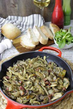 Salteado de setas con jamón y bacon | perfecto para tostas Portobello, Tostadas, Stuffed Mushrooms, Chicken, Vegetables, Cooking, Bacon, Food, Stir Fry