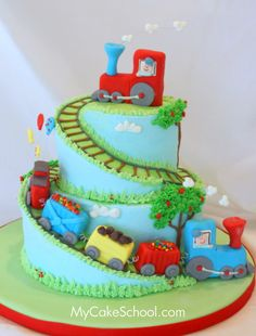 ADORABLE Train Cake from MyCakeSchool.com's tutorial on spiral tiers!