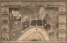 NEW ORLEANS Louisiana MAP circa 1845 Vintage Bourbon Street Repro Print 24x36