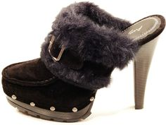"Anne Michelle - Black, Platform, High Heel, Fur Trim Clogs | eBay   ~   I had a pair of Candies clogs that looked a lot like these, oh, back in ""the day"" (early 80's).   ~   ***I've broken up the ""My Style"" pinboard into sub-boards for shoes, clothing, jewelry, etc. so I am not posting very much here anymore.  I'm reserving for non-clothing items.  Or for reminiscing. :D ***"