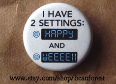 two settings - pinback button badge on Etsy, 9,80 kr