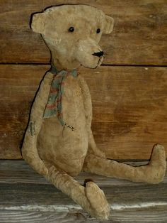 Large Primitive Feedsack Teddy Bear rag by FolkArtandPrimitives