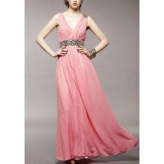 GM-Fashion Pink Patchwork Rhinestone Zipper Plunging Neckline Elegant Maxi Dress