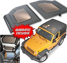 Quadratecs' JeeTop's are modified Mopar hardtop panels that create the open air feeling without the wind and sun glare. The high performance sunroof material actually reduces the weight of each panel while increasing resilience and strength. Made from impact modified acrylic that's also used to make aircraft canopies. JeeTops are impact resistant, scratch resistant, and will block 99% of UV-A and UV-B rays and will keep your inside cooler on hot summer days! $1945.99