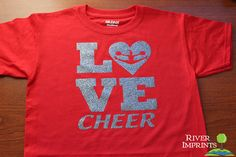 Youth LOVE CHEER, youth girls sparkly tee shirt on Etsy, $17.00