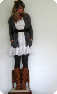 dress + tights + boots = love