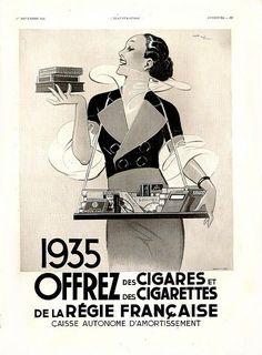 1934 L'Illustration Magazine, Offrez des Cigares Ad, Rene Vincent
