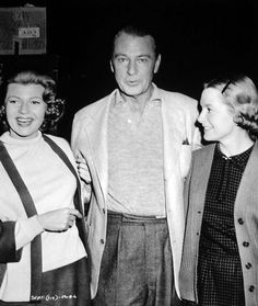 Gary Cooper visits Rita Hayworth and Deborah Kerr on the set of Separate Tables
