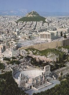GRECIA Herodes Atticus Theater, The Parthenon and Lycabettus Hill ~ This is Athens Places Around The World, The Places Youll Go, Travel Around The World, Places To See, Dream Vacations, Vacation Spots, Greek Cruise, Wonderful Places, Beautiful Places