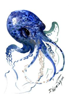Octopus Original watercolor painting 12 X 9 in by ORIGINALONLY