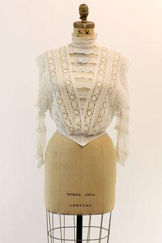 1910 Edwardian Lace Blouse Small / Edwardian Era by CrushVintage