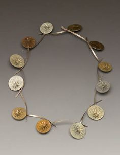 "HEATHER BAYLESS- USA  Dewy Musings Necklace in anodized titanium, oxidized sterling silver and keum boo. Approx 13"" tall."