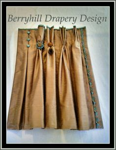 Drapery pleat ideas - left to right. Inverted box pleat, goblet pleat, two finger pleat, French pleat, Euro pleat Curtains And Draperies, No Sew Curtains, Pleated Curtains, Drapery Panels, Drapery Fabric, Valances, Drapery Designs, Drapery Ideas, Curtain Styles