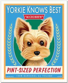 Yorkie Art  Yorkie Knows Best Microbrew  by RetroPetsGallery