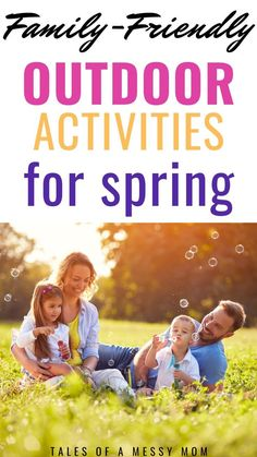 Family-friendly outdoor spring activities for kids. A spring bucket list of fun activities, crafts, art projects, nature play, games, and more to do with your kids this spring. #spring #outdooractivities #bucketlist #kidsactivities