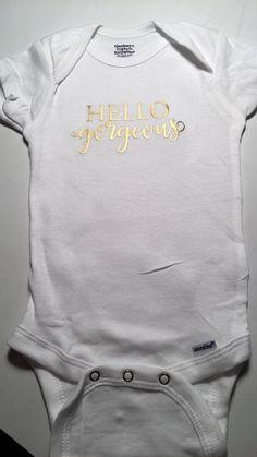 c46a5e3acc4c Hello Gorgeous Girls Cute Onesie Outfit - Newborn