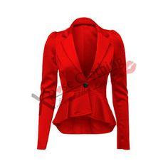 LADIES WOMENS CROP PEPLUM FRILL BLAZER WORK OFFICE JACKET SMART... ❤ liked on Polyvore