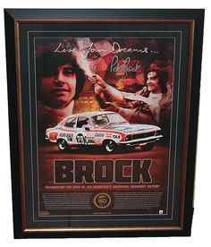 This superbly framed presented sportsprint has been produced to celebrate Peter Brock's first bathurst victory.  Featuring images of Peter in 1972, it is limited in edition to 1000 only and is accompanied with a Certificate of Authenticity.  It is officially licensed by V8 Supercars and Peter Brock Foundation.  Features facsimile signature in silver of Peter Brock.