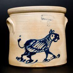 Very Rare WEST TROY POTTERY Stoneware Crock with Zebra Decoration