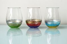 Diy add a Pop of Color to Your Glassware! via Brit + Co. Acrylic Wine Glasses, Painted Wine Glasses, Paint Pens, Paint Markers, Decoupage, Wine Glass Crafts, Crate And Barrel, Color Pop, Glass Art
