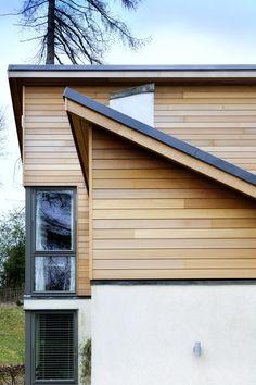 45 Ideas Exterior Wood Cladding Ideas Red Cedar For 2019 Wooden Cladding Exterior, Western Red Cedar Cladding, Larch Cladding, Stucco Exterior, House Paint Exterior, Exterior House Colors, Modern Exterior, Exterior Design, Exterior Makeover