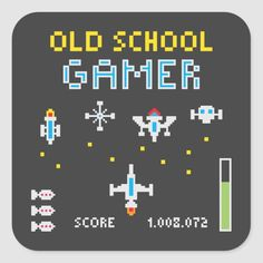 Pixel Art Illustration depicting an old school space game. Make Your Own Game, How To Make, Space Games, School Games, Perler Beads, Custom Stickers, Pixel Art, Old School, Minecraft