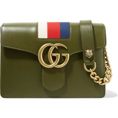 Gucci GG Marmont striped canvas-trimmed leather shoulder bag (8.130 BRL) ❤ liked on Polyvore featuring bags, handbags, shoulder bags, gucci, army green, olive green handbag, green purse, green shoulder bag, leather purses and gucci shoulder bag