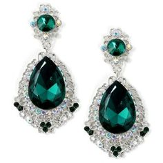 Large Emerald Green Crystal and Rhinestone Chandelier Earrings Prom... (26 CAD) ❤ liked on Polyvore