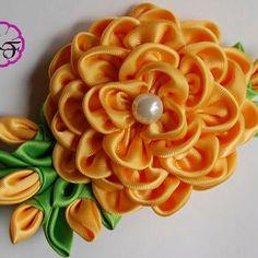 Kanzashi flower ,Yellow flower alligator clip , Ribbon flower