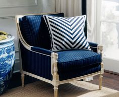 Ralph Lauren Home Le Grande Hotel Collection French Nautical Seaside Ocean Beach House Style Blue and White Navy Living Rooms, My Living Room, Living Room Chairs, Ralph Lauren, Navy Accent Chair, Luis Xvi, Grande Hotel, Blue Accents, White Houses