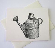 Watering Can Note Cards Stationery Set of 10 by PetitePaperie, $10.00