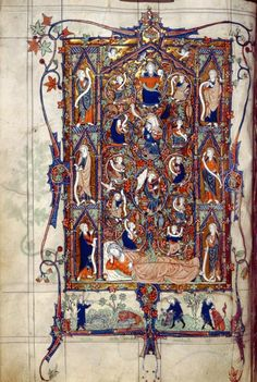 Full-page miniature of the Tree of Jesse by John Tickhill / The Tickhill Psalter is a 14th-century illuminated manuscript. It is beautifully illuminated with scenes from the life of King David. Created in the early 14th century, the manuscript was originally part of the library of the Worksop Priory in north Nottinghamshire. It is now kept in the New York Public Library.